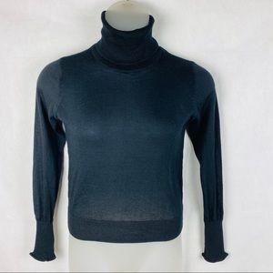 Zara Knit Slit Sleeve Black Turtleneck